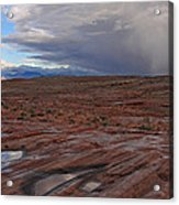 Waterpockets And Storm At The Valley Of Fire Acrylic Print