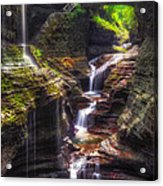 Watkins Glen Rainbow Falls Acrylic Print by Mark Papke