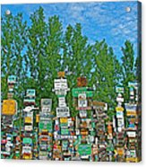 Watson Lake Sign Forest-yt Acrylic Print by Ruth Hager