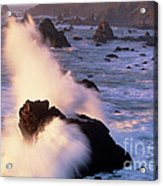 Wave Crashing On Sea Mount California Coast Acrylic Print
