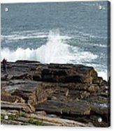 Wave Hitting Rock Acrylic Print