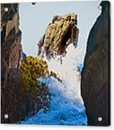 Wave Through The Cave At Pfiffer Beach In Big Sur Acrylic Print