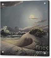 Waves And  Moonlight Acrylic Print
