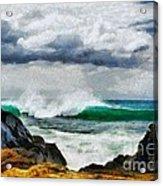 Waves And Rocks Acrylic Print