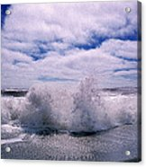 Waves Breaking At The Coast, Iceland Acrylic Print