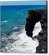 Waves Breaking On Rocks, Hawaii Acrylic Print