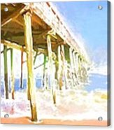 Waves By The Pier Acrylic Print