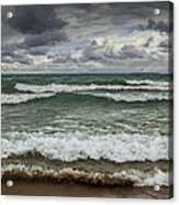 Waves Crashing On The Shore In Sturgeon Bay At Wilderness State Park Acrylic Print