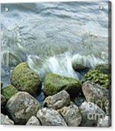 Waves On Mossy Rocks 2 Acrylic Print