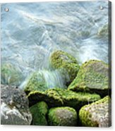 Waves On Mossy Rocks Acrylic Print