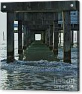 Waves Under The Clearwater Pier 60 Acrylic Print