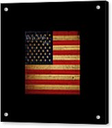 We The People - The Us Constitution With Flag - Square Black Border Acrylic Print