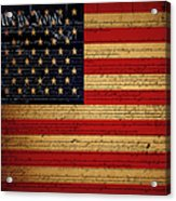 We The People - The Us Constitution With Flag - Square V2 Acrylic Print