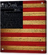 We The People - The Us Constitution With Flag - Square Acrylic Print