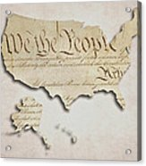 We The People - Us Constitution Map Acrylic Print
