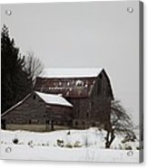 Weathered Barns In Winter Acrylic Print