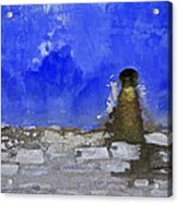 Weathered Blue Wall Of Old World Europe Acrylic Print