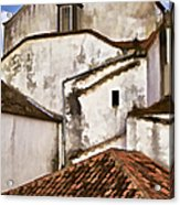 Weathered Buildings Of The Medieval Village Of Obidos Acrylic Print