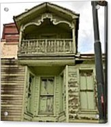 Weathered Old Green Wooden House Acrylic Print