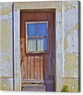 Weathered Rustic Red Wood Door Of Portugal Acrylic Print