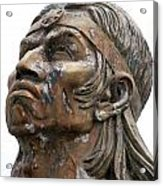 Weathered Statue Of Inca Warrior Acrylic Print