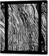 Weathered Wood Triptych Bw Acrylic Print