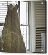 Wedding Dress And Veil By The Window Acrylic Print
