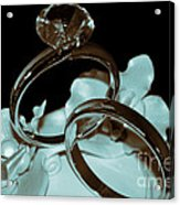 Wedding Ring Cake Topper Cyan Acrylic Print