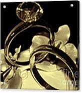 Wedding Rings Cake Top Blk Antiqued Acrylic Print