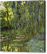 Weeping Willows The Waterlily Pond At Giverny Acrylic Print by Claude Monet