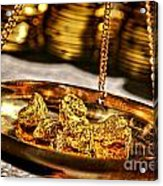 Weighing Gold Acrylic Print