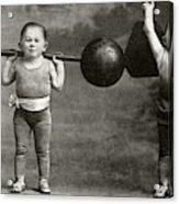 Weightlifting Dwarfism Exhibits Acrylic Print