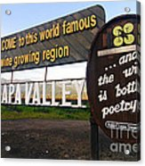 Welcome Sign To Napa Valley Acrylic Print