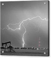 Weld County Dacono Oil Fields Lightning Thunderstorm Bwsc Acrylic Print