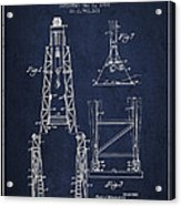 Well Drilling Apparatus Patent From 1960 - Navy Blue Acrylic Print