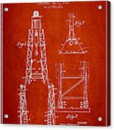 Well Drilling Apparatus Patent From 1960 - Red Acrylic Print