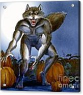 Werewolf With Pumpkins Acrylic Print