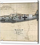 Werner Schroer Messerschmitt Bf-109 - Map Background Acrylic Print