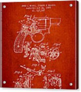 Wesson Hobbs Revolver Patent Drawing From 1899 - Red Acrylic Print