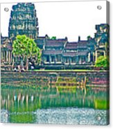 West Gallery From Across Moat In Angkor Wat In Angkor Wat Archeological Park Near Siem Reap-cambodia Acrylic Print