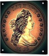 Western Draped Bust Liberty Dollar Acrylic Print