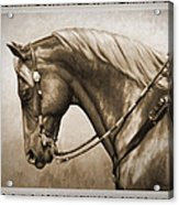 Western Horse Old Photo Fx Acrylic Print by Crista Forest