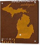 Western Michigan University Broncos Kalamazoo Mi College Town State Map Poster Series No 126 Acrylic Print