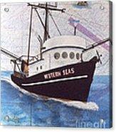 Western Seas Trawl Fishing Boat Nautical Chart Art Acrylic Print