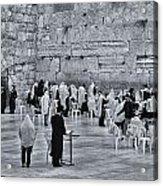 Western Wall Jerusalem Bw Acrylic Print