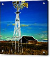 Western Windmill Acrylic Print by Steve McKinzie