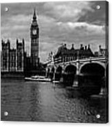 Westminster Pano Bw Acrylic Print