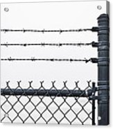 Wet Barbed Wire Fence In Heavy Fog E69 Acrylic Print