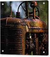 Wet Red Tractor Acrylic Print