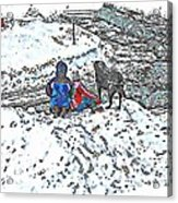 What Fascinates Children And Dogs -  Snow Day - Winter Acrylic Print